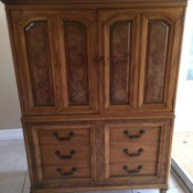 Value of a J.L. Metz Wardrobe Dresser - tall cabinet with two top doors and six drawers below