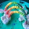 Edible Standing Rainbows - plate of rainbows
