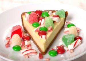 Peppermint Cheesecake with gum drops and M&Ms.