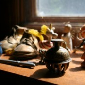 Knick Knacks on a window sill.