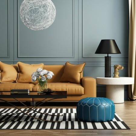 Butterscotch colored sofa.