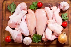 Raw chicken with ingredients on a cutting board