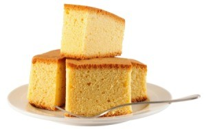 Sponge Cake slices stacked on a plate