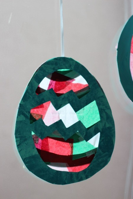 Easter Egg Sun Catcher  - close up of one complete egg