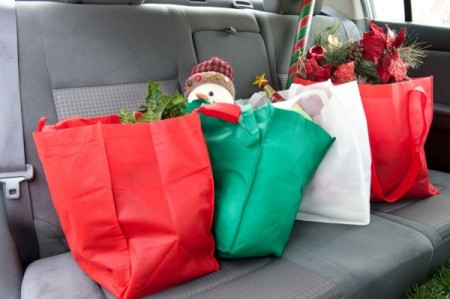 Fabric Christmas Bags in back car seat