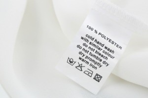 100% Polyester clothing label