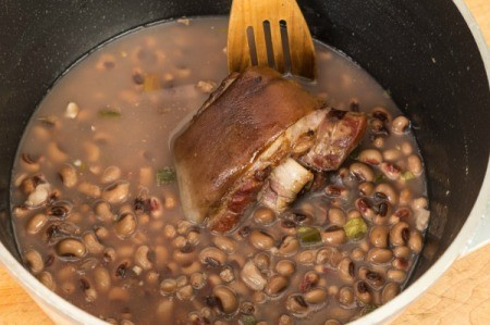 Ham hocks and beans in pot