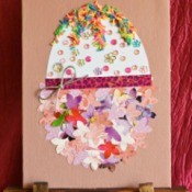 Easter Egg Collage Decoration - canvas on an easel