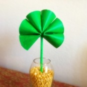 Cardboard Tube Shamrock - finished shamrock in glass vase