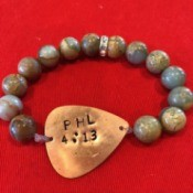 Homemade Jewelry Business Name Ideas - beaded bracelet with bibical verse on metal teardrop shape