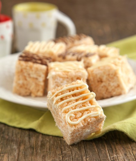 A pile of cake batter rice krispie treats.