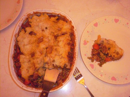 Shepherd's Pie baking dish and serving on plate