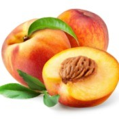 Ripes peaches on a white background