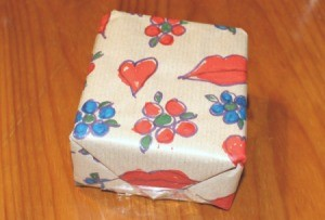 Make Your Own Wrapping Paper - gift wrapped in the paper
