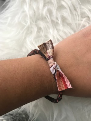 Fabric Wrapped Bracelet - bracelet on wrist