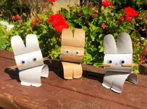 Cardboard Tube Bunnies - three finished bunnies
