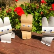 Cardboard Tube Bunnies - three finished bunnies