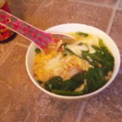 Egg Drop Soup in bowl with spoon