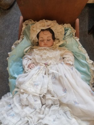 Identifying the Maker of a Porcelain Doll - baby doll in fancy gown
