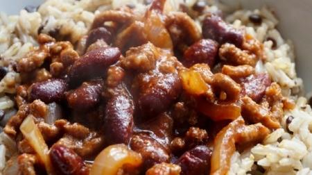 Close-up of Pork and Beans Goulash