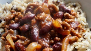 Close-up of Pork and Beans Goulash