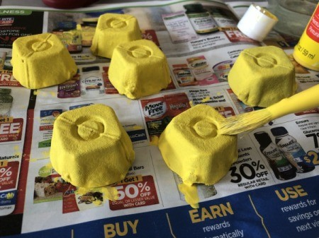 Egg Carton Easter Chick Containers - paint them yellow and allow to dry