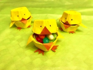Egg Carton Easter Chick Containers - three chicks one with candy inside
