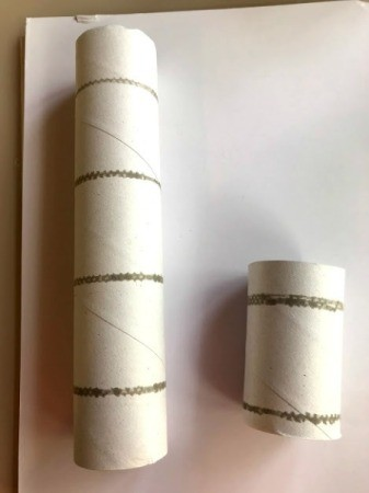 "Paper Towel Roll Rocket Craft for Kids - cut the paper towel roll into two pieces one about 3"" long"