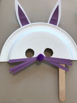 Paper Plate Bunny Mask - finished purple bunny