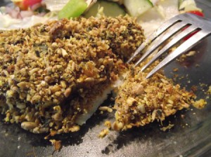 Moist and Crunchy Baked Fishcut with fork