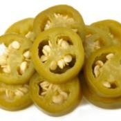 Sliced pickled jalapeno peppers