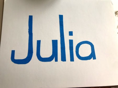 Kid's Name Painter's Tape Art -Project - spell out your child's name using blue painter's tape