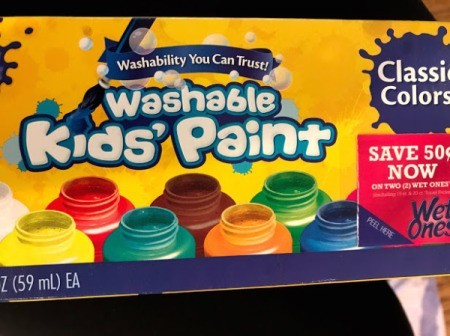 Kid's Name Painter's Tape Art Project - washable kids' paint