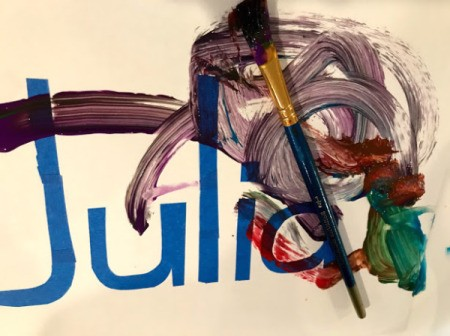 Kid's Name Painter's Tape Art Project - begin painting all over