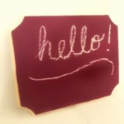 DIY Chalkboard Paint - finished chalk board surface with hello written on it