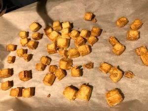 Baked Crispy Tofu on baking sheet