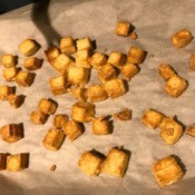 Baked Crispy Tofu on baking sheet
