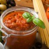 Tomato garlic basil sauce in a jar.