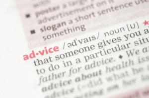 "Picture of the word ""Advice"" in a dictionary."