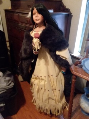 Value of an Ashley Belle Porcelain  Indian Doll - large Native American doll