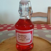A bottle of homemade raspberry red wine vinegar.