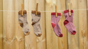 Socks hanging on a line drying