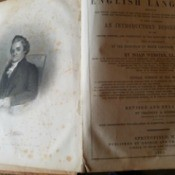 Value of an 1855 Webster's Dictionary - pages from dictionary, cover page an one with illustration of Noah Webster