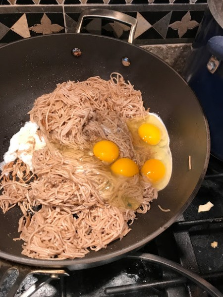 eggs added to soba noodles