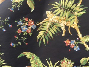 Looking for Discontinued Jaima Brown Wallpaper - floral jungle motif on black background