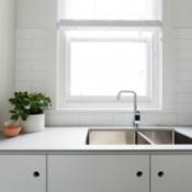 Photo of a kitchen window.