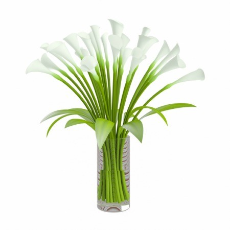 Artificial Calla Lilies in a glass vase.