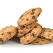 Stack of Hard chocolate Cookies on white background
