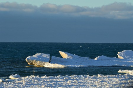 An iceberg near the shore of Lake Michigan.