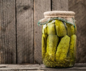 Pickles in a jar.